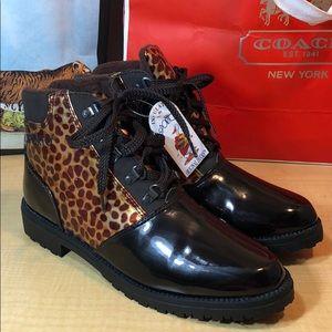 NWT Sporto Duck leopard rubber winter boots
